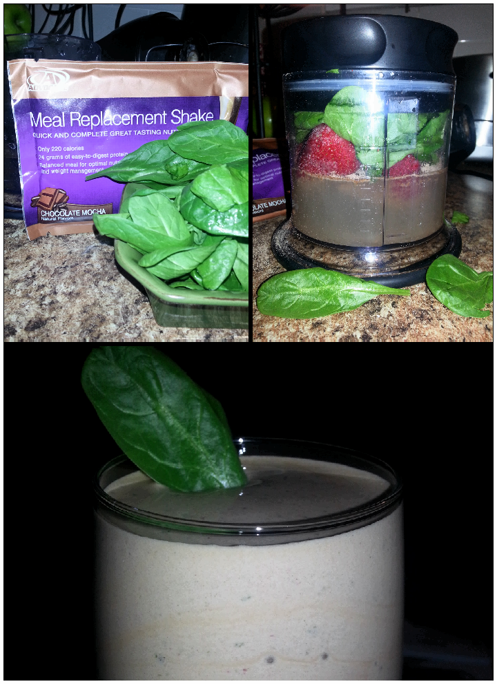 ... Meal Replacement Shake with a few Frozen strawberries and a cup full